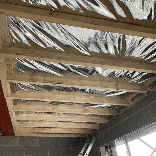 First Floor Balcony Foil Insulation