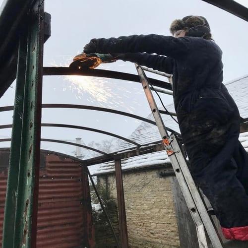 Cutting Railway Wagon Roof
