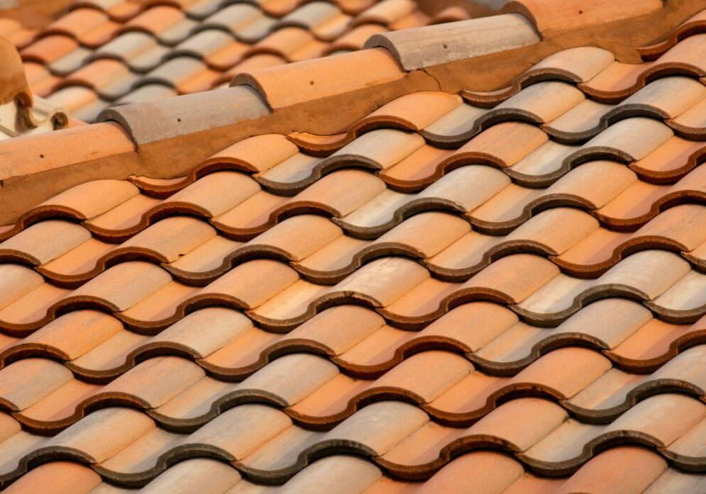 Close up of wavy roof tiles